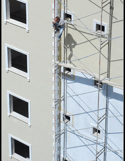 Man working on a scaffold in Turkey
